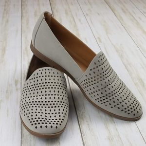 Franco Sarto Taupe Perforated Loafer Flats